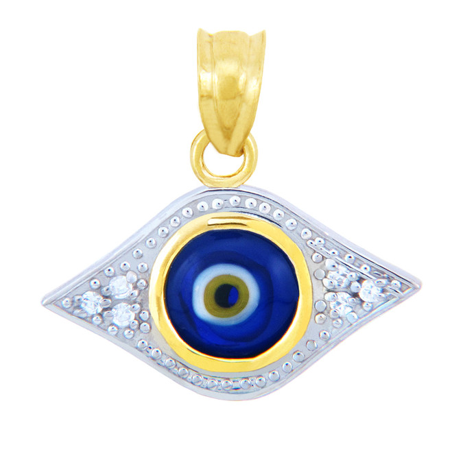 Gold Diamond Evil Eye Blue Pendant
