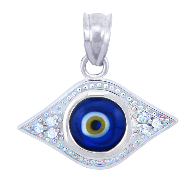 White Gold Diamond Evil Eye Blue Pendant