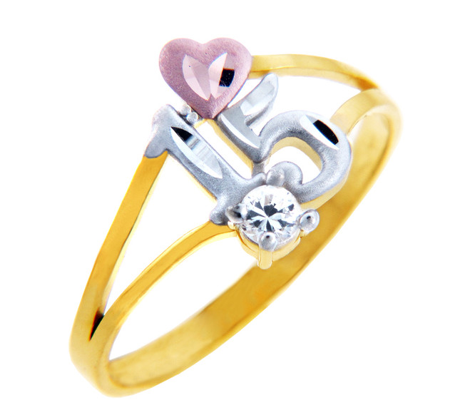 15 Años Ring - Quinceanera Ring Heart in Cubic Zirconia