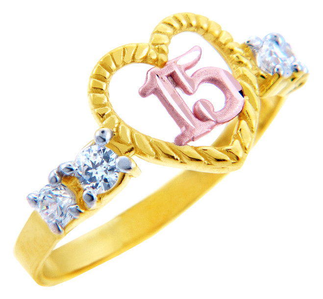 15 Años Ring  - Quinceanera Heart Ring with Cubic Zirconias