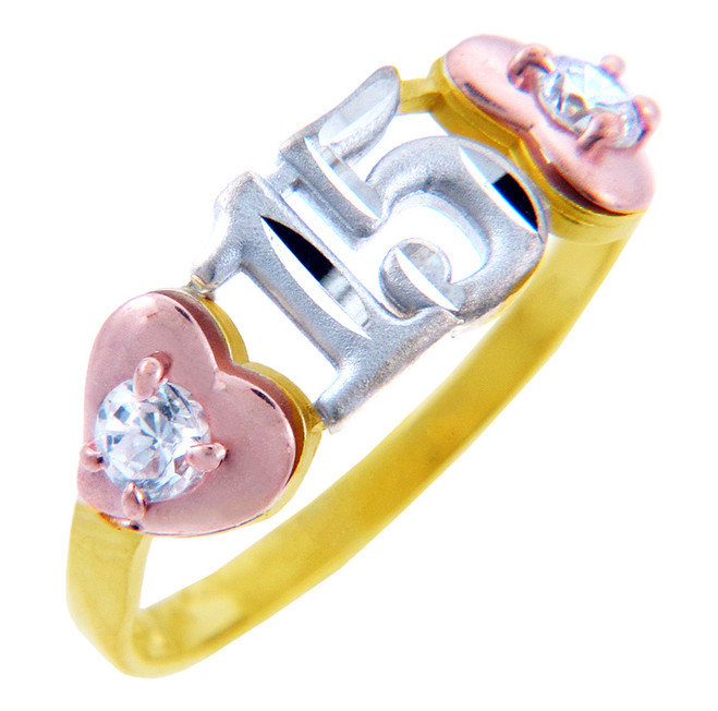15 Años Ring- Quinceanera Two Heart Ring with Cubic Zirconias