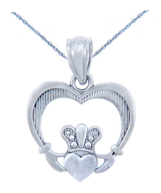 Silver Heart Shaped Claddagh Pendant (w Chain)