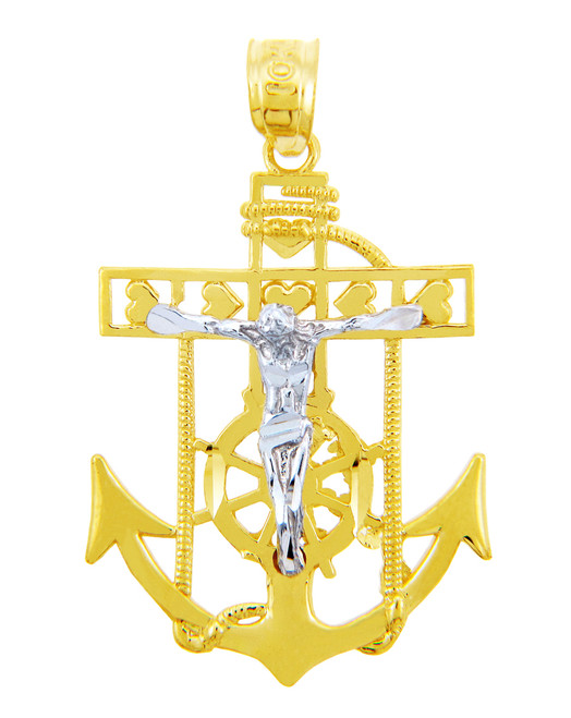 Two-Tone Gold Mariners Anchor Cross Religious Crucifix Pendant