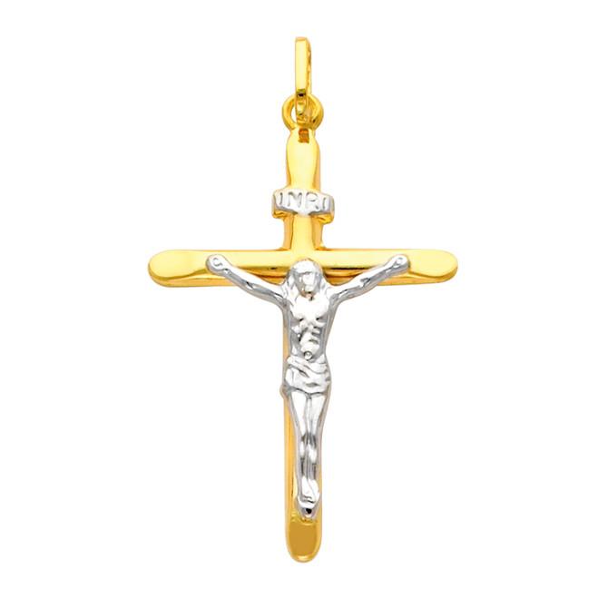Divine 14K Gold Two Tone Crucifix