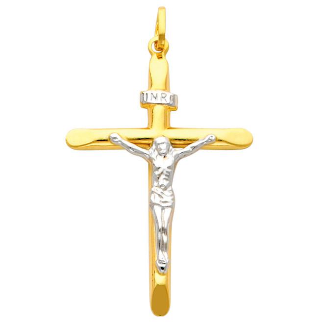 14K Two Tone Gold Glorified Crucifix
