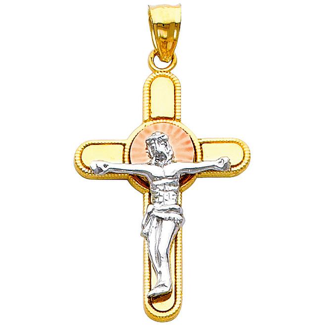 14K Tri-Color Gold Virtuous Crucifix