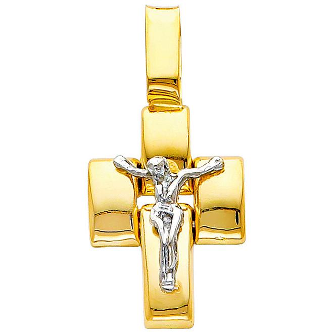 Two-Tone 14K Gold Spiritual Crucifix