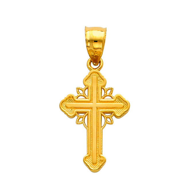 14K Gold Trinity Cross Charm Pendant