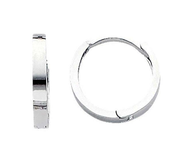 White Gold Circle Huggies Earrings