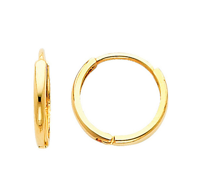 Classic  Yellow Gold  Round Huggies Earrings