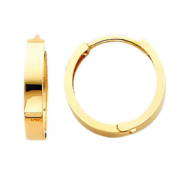 Polished Yellow Gold Round Huggies Earrings