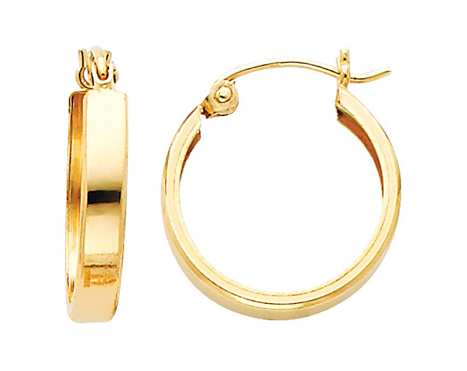 Polished Yellow Gold Latched Huggies Earrings