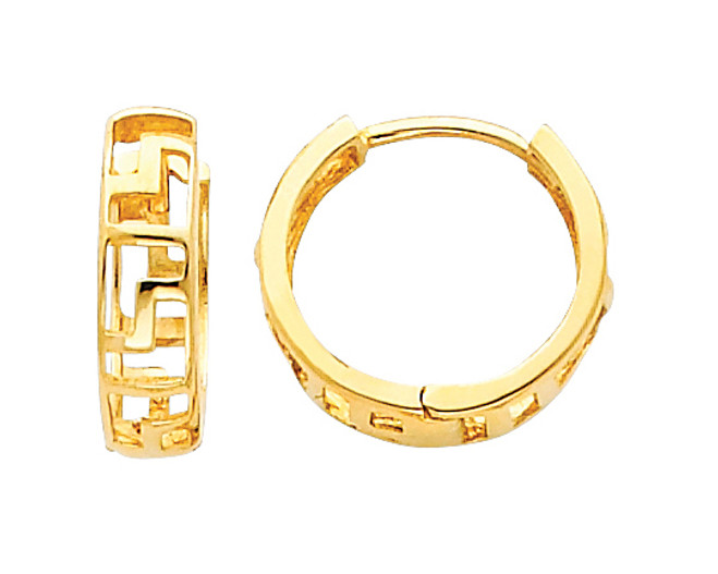 Greek Key Yellow Gold Huggies Earrings