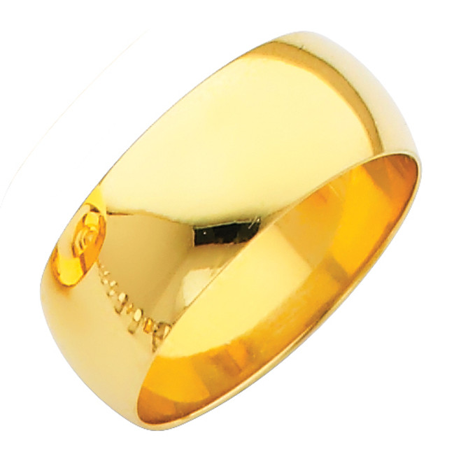 Polished Yellow Gold Classic Wedding Band - 8MM