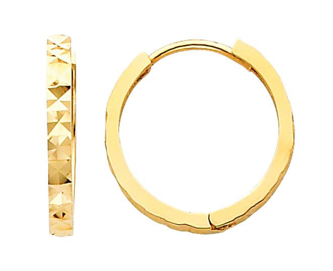 Diamond Cut Round Yellow Gold Huggie Earrings