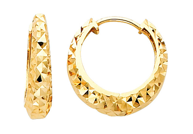 Diamond Cut Bold Yellow Gold Huggie Earrings