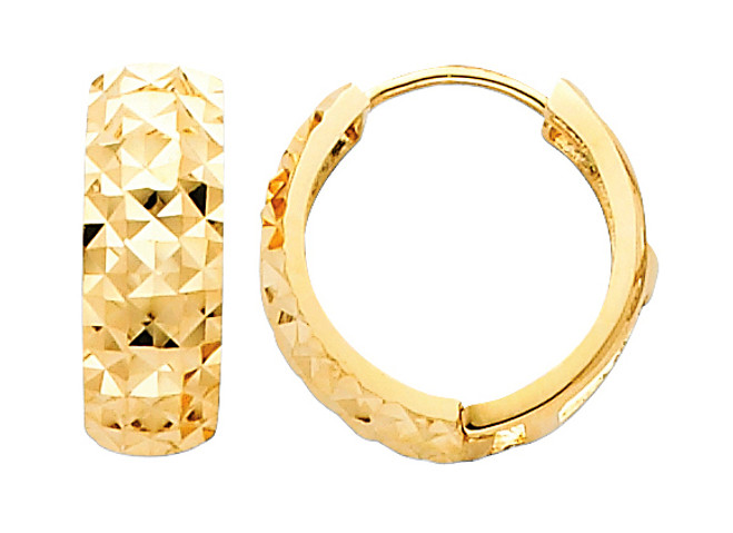 Bold Diamond Cut Yellow Gold Huggie Earrings