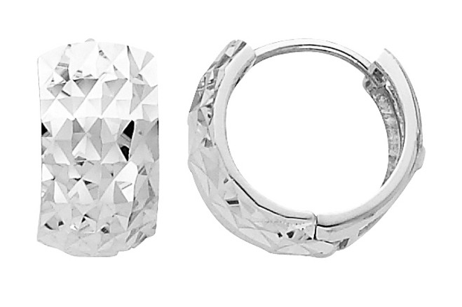 Large Diamond Cut White Gold Huggie Earrings