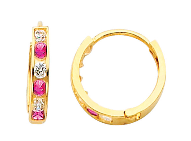 Yellow Gold  Red White  CZ Huggie Earrings