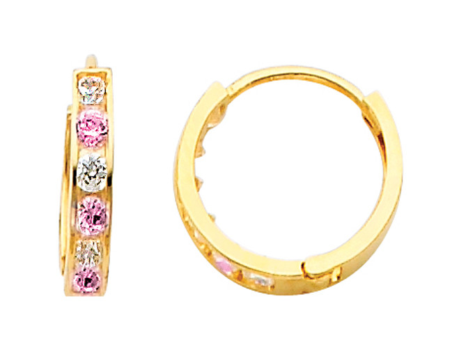 Yellow Gold Pink  White  CZ Huggie Earrings