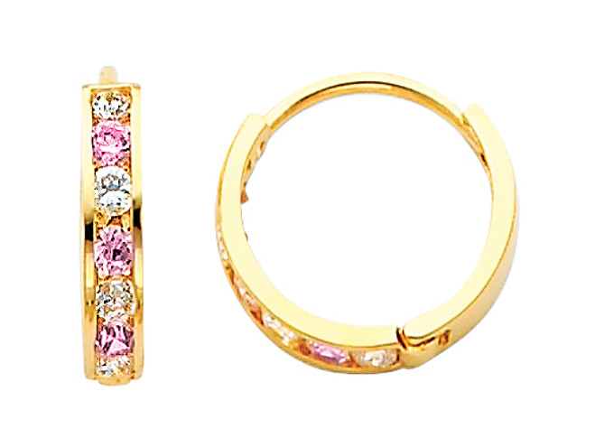 Bold Yellow Gold Pink White CZ Huggie Earrings