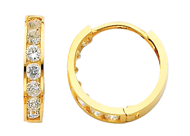 Yellow Gold CZ Traditional Huggie