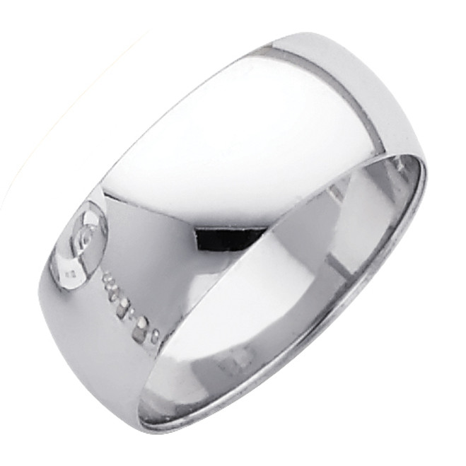 Polished White Gold Classic Wedding Band - 8MM