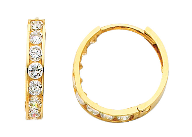Round CZ Yellow Gold Huggie Earrings