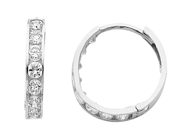 Round CZ White Gold huggie Earrings