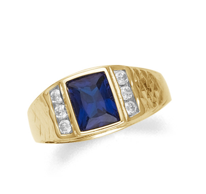 Gold Mens Sapphire Ring with Cz