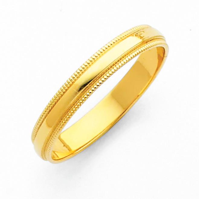 14K Milgrain Gold Classic Wedding Band - 3MM