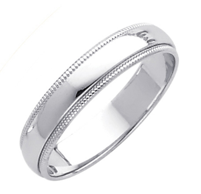 14K White Gold Milgrain Classic Wedding Band 4MM