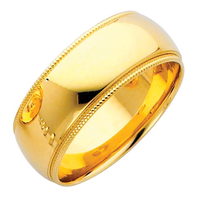 14K Gold Milgrain Comfort Fit Wedding Band 8MM