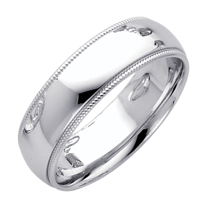 14K White Gold Milgrain Comfort Fit Wedding Band 6MM