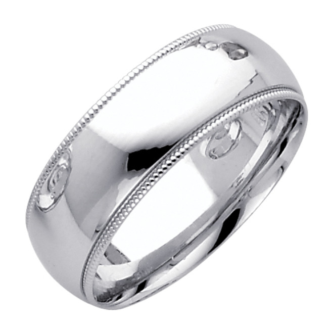 14K White Gold Milgrain Comfort Fit Wedding Band - 7MM