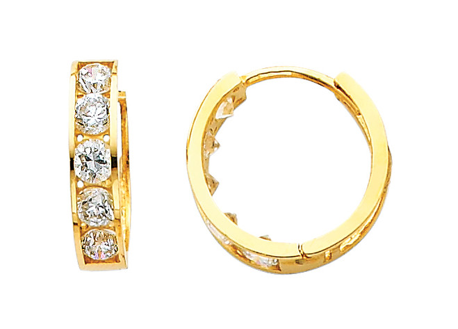 Large Classic Yellow Gold CZ Huggie Earrings