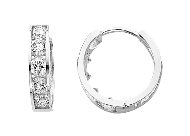 Large Classic White Gold CZ Huggie Earrings