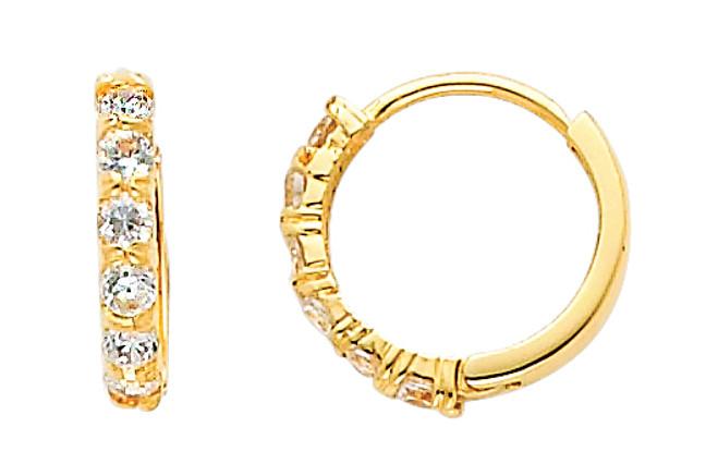 Small Classic CZ Yellow Gold Huggie Earrings