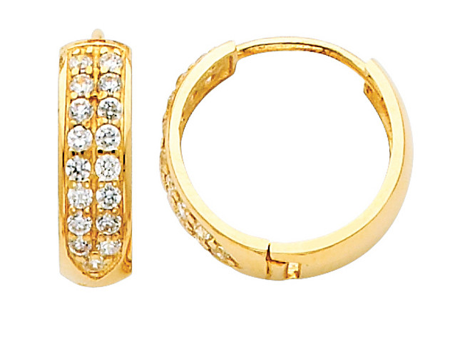 Bold Large CZ Yellow Gold Huggie Earrings