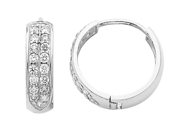 Bold Large CZ White Gold Huggie Earrings