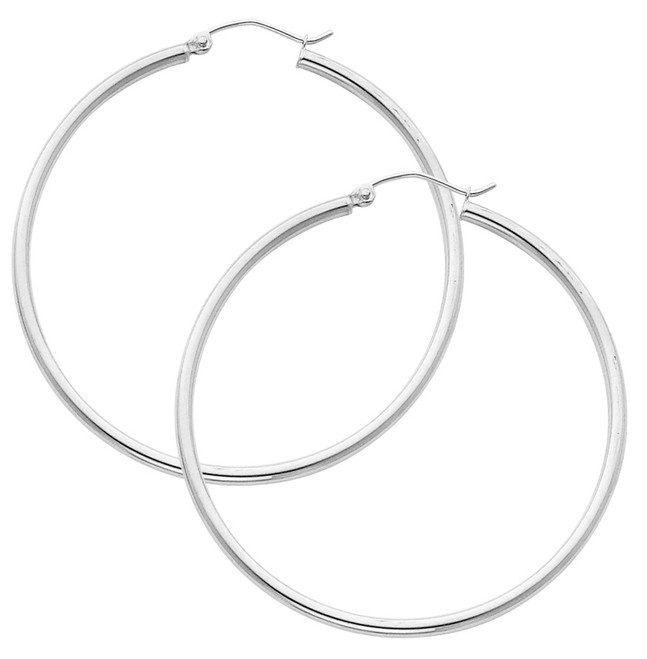 White Gold Hoop Earring -2.5 Inches