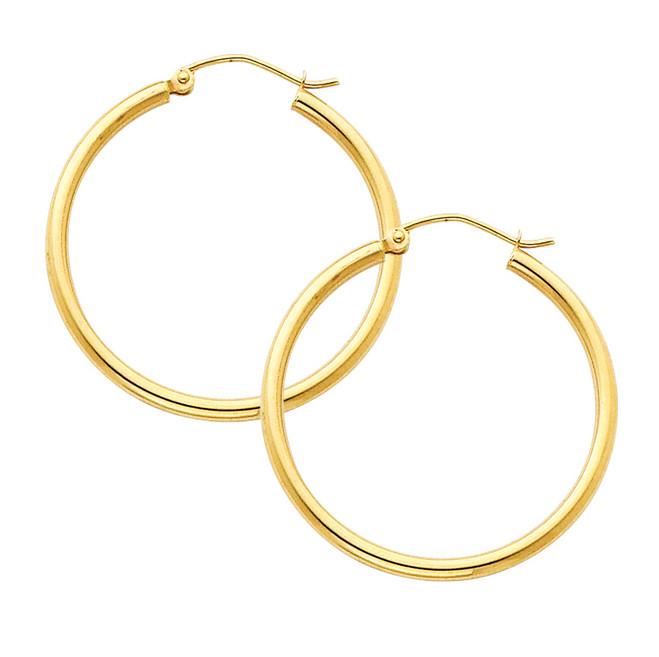 Yellow Gold Hoop Earring -1.25 Inches