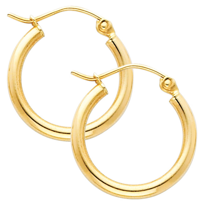 Yellow Gold Hoop Earring -0.5 Inches
