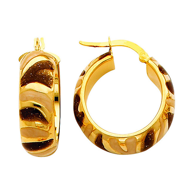 Two Tone Yellow Gold Fancy Hoop Earring Brown and White