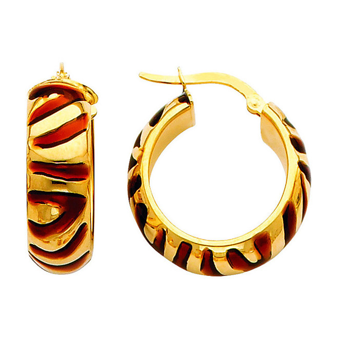 Two Tone Yellow Gold Fancy Hoop Earring Red and White