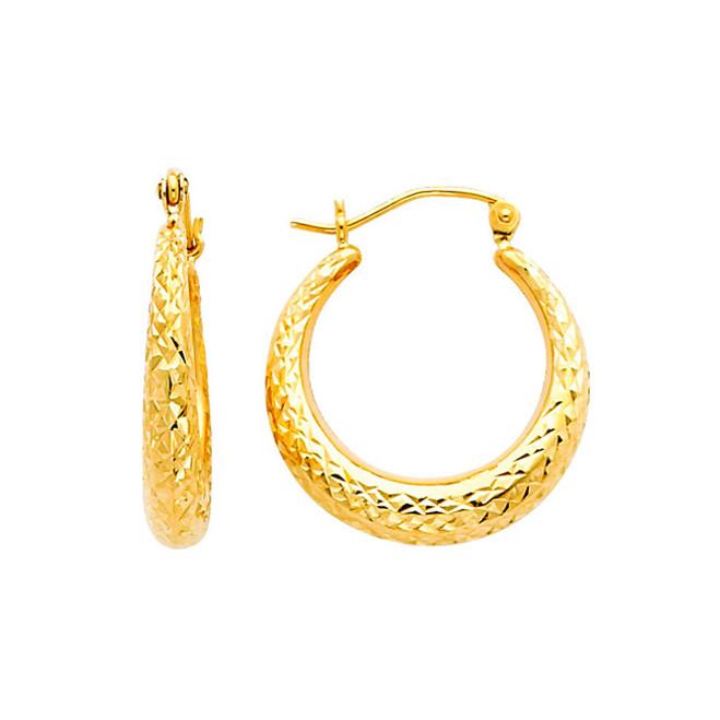 Fancy Diamond Cut Yellow Gold Hoop Earring