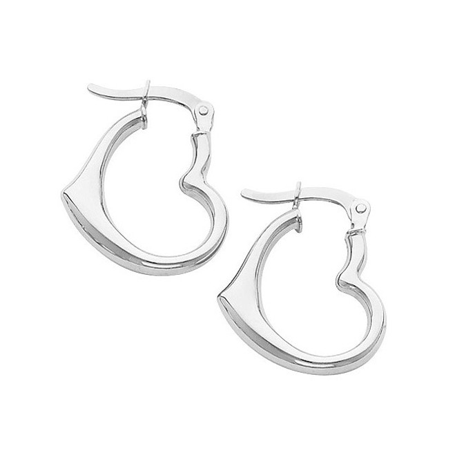 Small White Gold Heart Hoop Earring