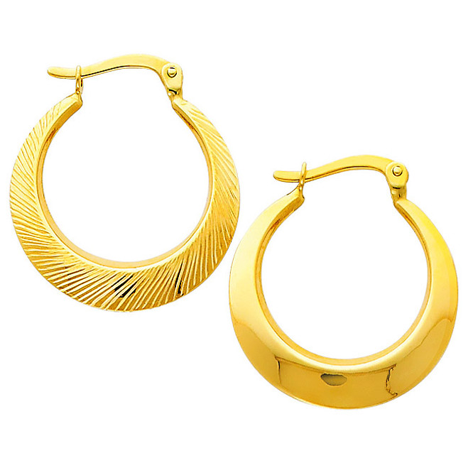 Diamond Cut Reversible Yellow Gold Hoop Earring