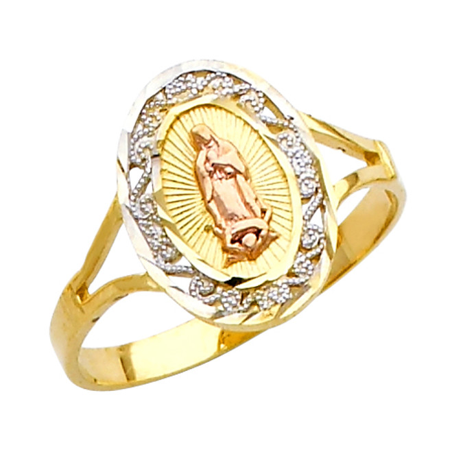 """Our Lady of Guadalupe/Nuestra Señora de Guadalupe"" Tri-Color Ring"