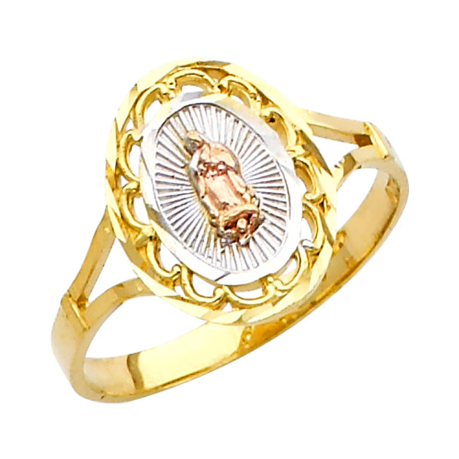 "Classic ""Our Lady of Guadalupe/Nuestra Señora de Guadalupe"" Tri-Color Ring"